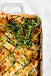 Vegetable Lasagna with Zucchini Lattice (vegetarian) A hearty Vegetable Lasagna …