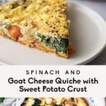 Spinach & Goat Cheese Quiche with Sweet Potato Crust