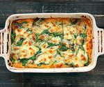 Sweet Potato Vegetarian Lasagna – Sweet potato mix, Eggplant, spinach topped wit…