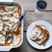 Tomato, lentil, and spinach lasagne…