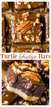 Salted Caramel Turtle Fudge Bars are so easy to make!