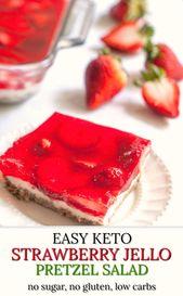 Keto Strawberry Pretzel Salad | easy low carb, gluten free dessert – just like t…