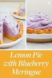 Lemon Pie with Blueberry Meringue #purewow #cooking #pie #food #baking #sweet …