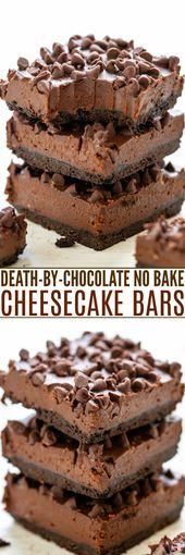 Death-By-Chocolate No Bake Cheesecake Bars – Averie Cooks
