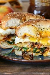 Pear Apple Cheddar Caramelized Onion Grilled Cheese Bagel Sandwiches | TheRoaste…
