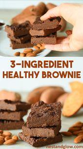 3 Ingredient Healthy Brownies Recipe – easy sweet potato chocolate brownies made…