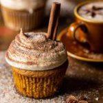 Vanilla Chai Pumpkin Latte Cupcakes with Cinnamon Brown Sugar Frosting   halfbakedhavest.com