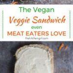 OMG…this sando's off the hook! Stacked veggies, smeared hummus, avocado topp…