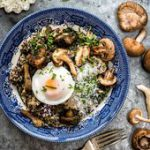 Mushroom, spinach and quinoa risotto with oven-poached eggs…