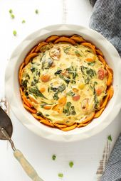 Vegan veggie quiche with sweet potato crust with a secret ingredient. Wholesome,…