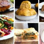 VEGAN THANKSGIVING RECIPES Chickpea Loaf, Pumpkin soup, Rolls, Spinach Pie, mashed potatoes + gravy