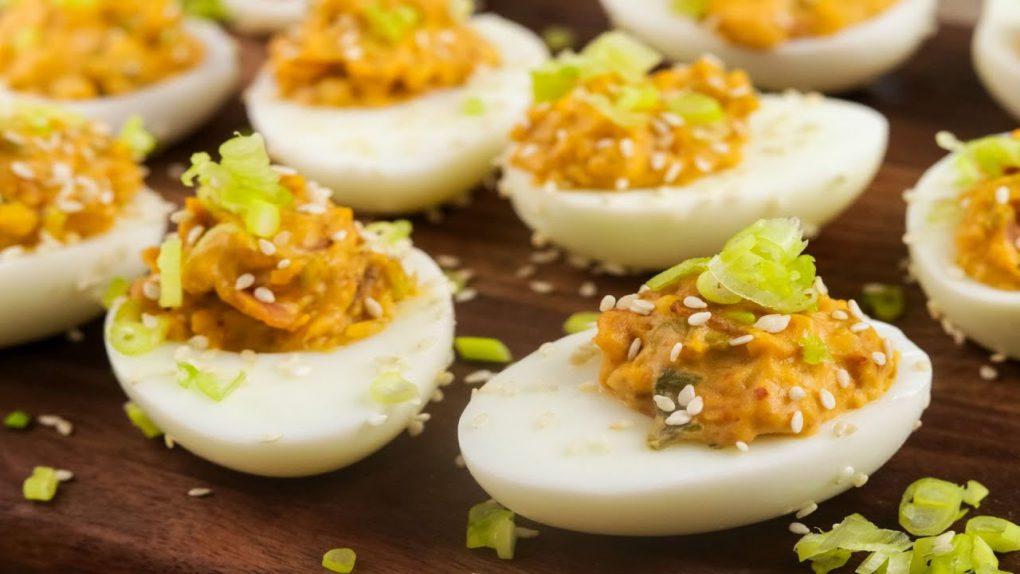 Bacon and Kimchi Deviled Eggs Recipe- Keto Recipes | Custom Keto Diet