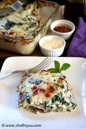 Spinach, Mushroom , Ricotta Cheese Lasagna Recipe | Vegetarian Lasagna Recipe…