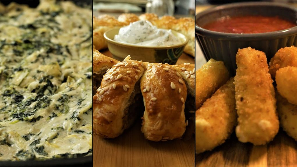 3 Appetizer Recipes For New Years! Sausage Roll wreath / Spinach Artichoke Dip / Fried Mozzarella