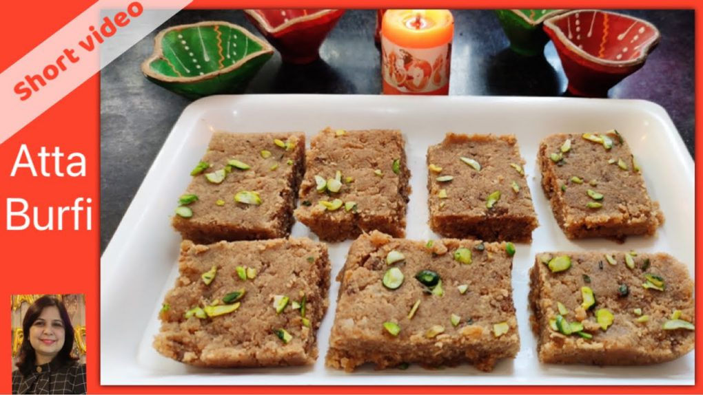 Diwali special atta barfi recipe | quick indian recipe | आटा बर्फ़ी मिठाई #shortvideo