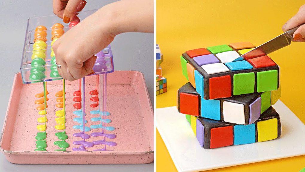 Rubik Cake | Amazing Rainbow Chocolate Cake And Dessert Recipes | So Yummy Chocolate Cake Tutorials