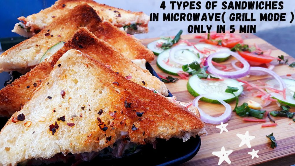 4 Types Of Sandwiches | Microwave (Grill Mode) Easy, quick & Healthy Recipe | Sandwiches Recipe