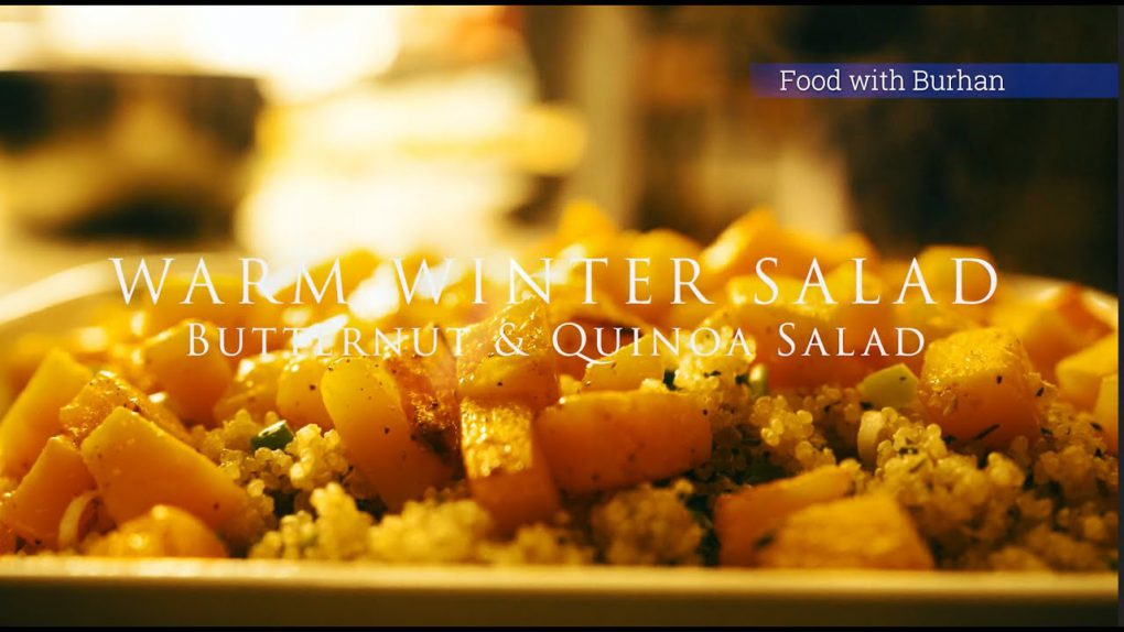 Roasted butternut squash quinoa salad recipe for a new year winter healthy dinner