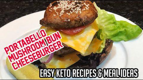 Keto Portabello Bun Mushroom Cheeseburgers (Low Carb + Bunless Burgers + Keto Recipes)