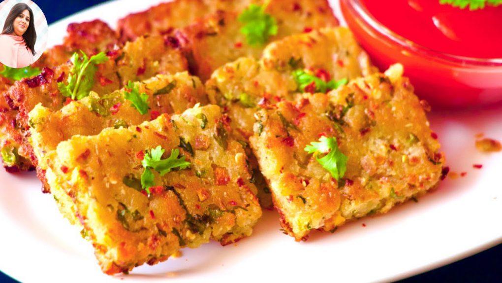 Crispy Poha Bites, Breakfast Recipes,Poha Nasha recipe, Poha Namkeen Cake, poha cutlet, Veggie Tikka