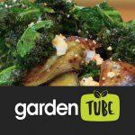 A crispy kale and cooked aubergine salad recipe.