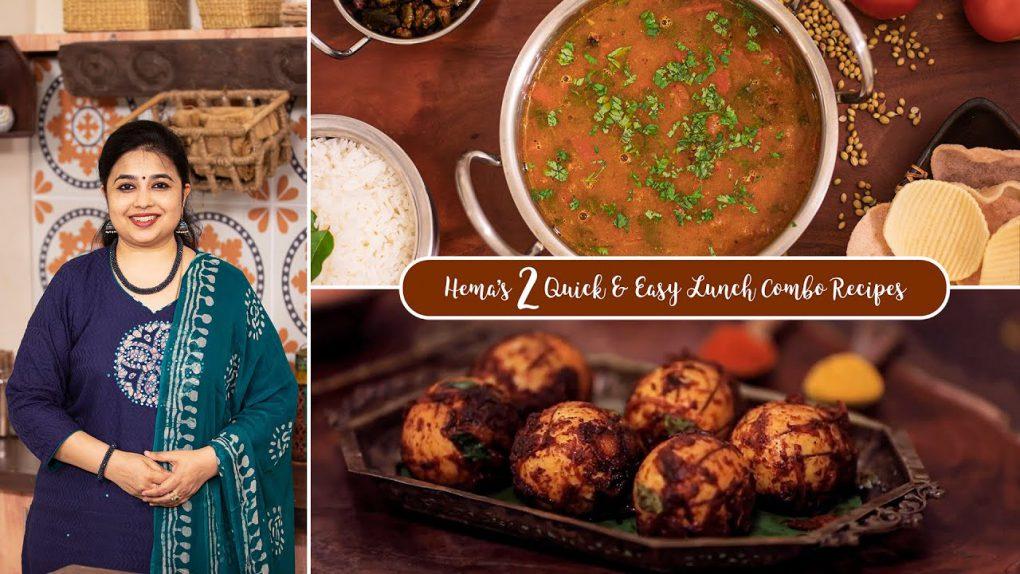 Hema's 2 Quick & Easy Lunch Combo Recipes | Tomato Rasam | Egg Fry | Lunch Recipes | Egg Recipes