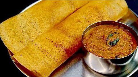 கோதுமை தோசை கார சட்னி | Wheat Dosa Recipe In Tamil | How To Make Crispy Wheat Dosa | godhumai dosa
