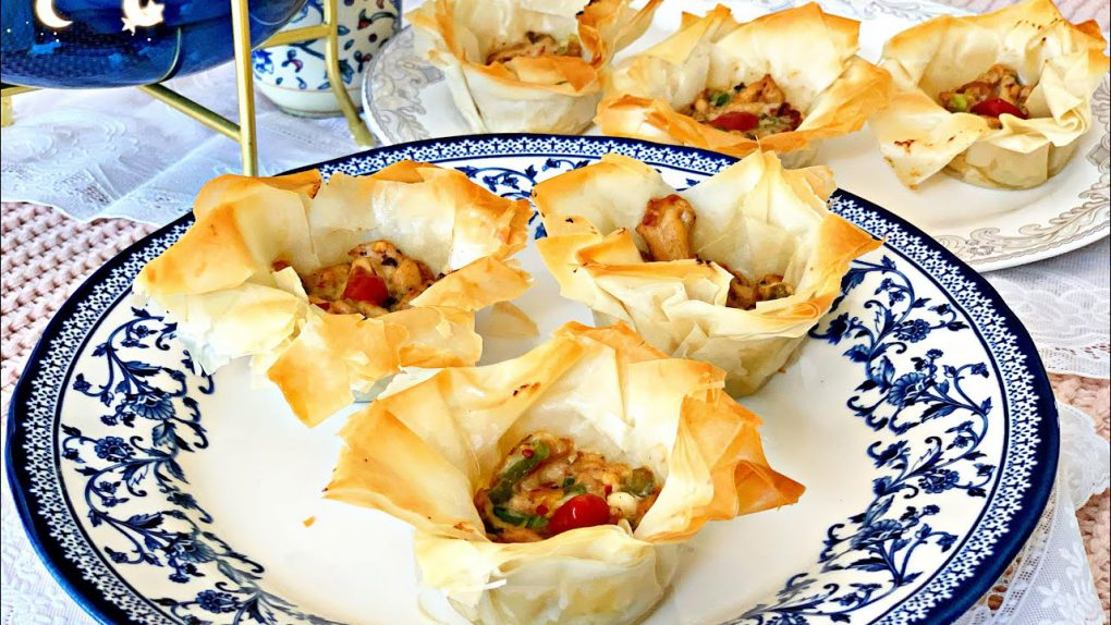 Baked Iftar snack Recipe//Crispy Phyllo sheet cups with creamy chicken filling/Easy Appetizer Recipe