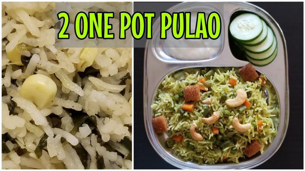 2 Indian vegetarian recipes for beginners   quick palak corn pulao   mint coriander vegetable pulao