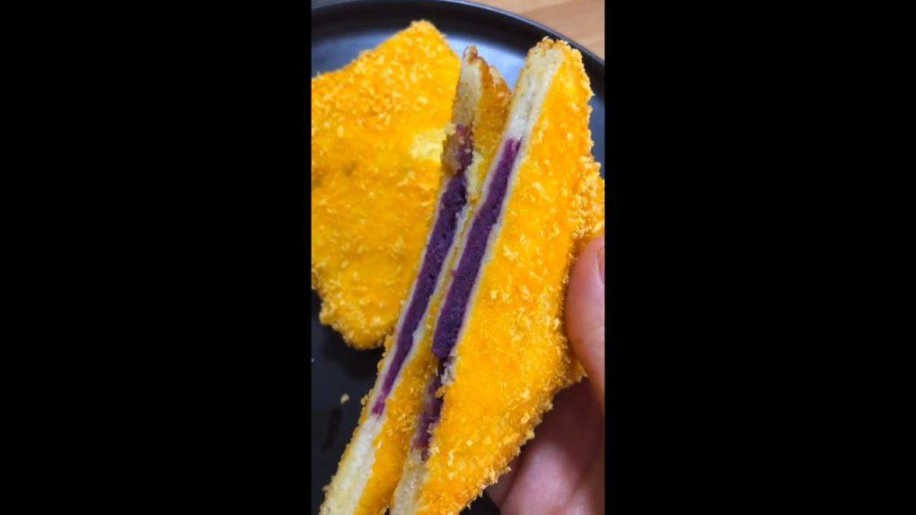 Vegetarian recipes purple sweet yam Healthy pie Vegetarianism 紫薯最好吃的做法 外酥里嫩 健康派 紫薯派 素食主義#shorts