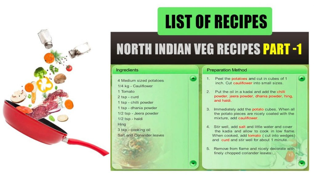 North Indian Vegetarian Recipes Part -1   List of Recipes   Indian Recipes List   Types of Recipes
