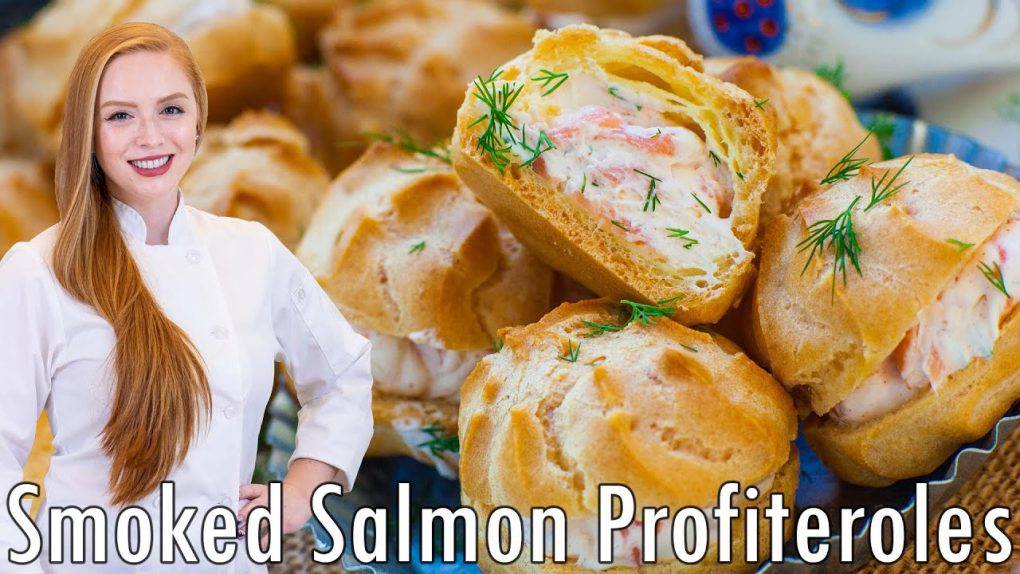 Smoked Salmon Profiteroles – with Creamy, Cream Cheese Filling!! Seafood Appetizer Recipe!!
